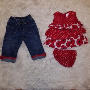 Gymboree red poppy outfit 6-12 mo